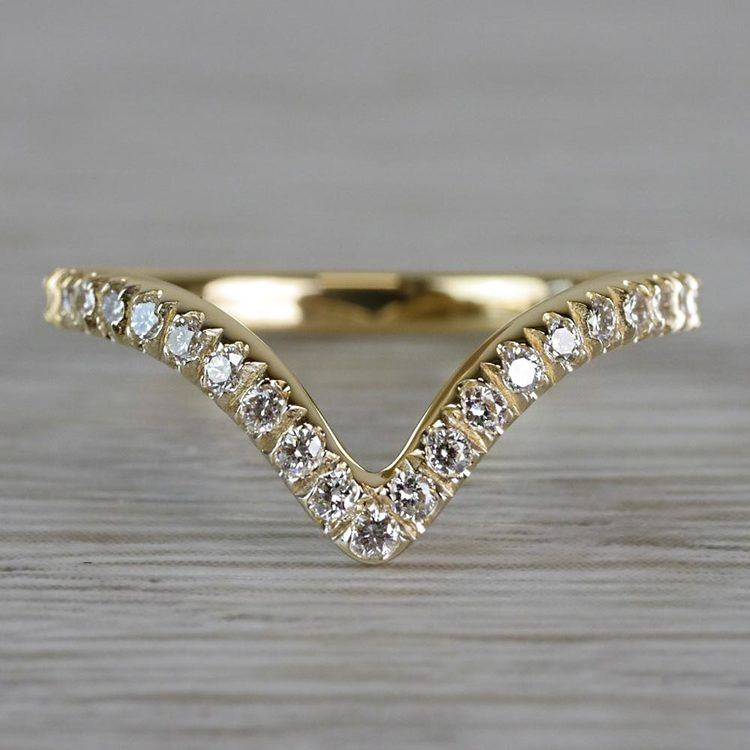 Custom V-Style Pave' Diamond Band in Yellow Gold