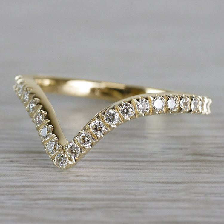 Custom V-Style Pave' Diamond Band in Yellow Gold angle 2