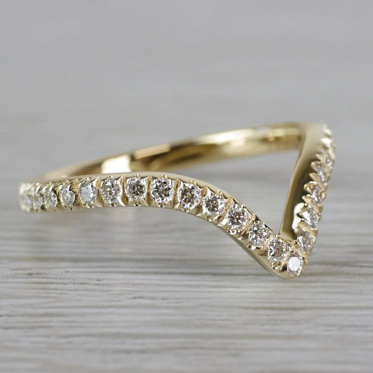 Custom V-Style Pave' Diamond Band in Yellow Gold angle 3