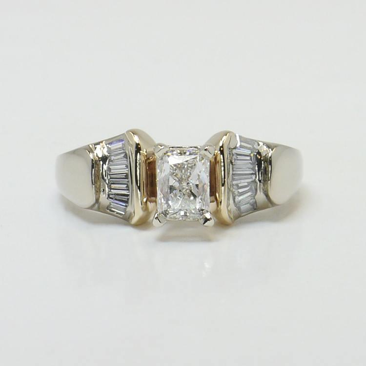 Custom Art Deco Radiant Diamond Engagement Ring