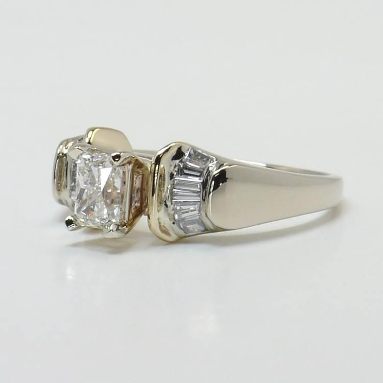 Custom Art Deco Radiant Diamond Engagement Ring angle 2