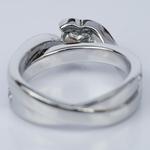 Customized Bezel Aquamarine Gemstone Bridge Heart Engagement Ring in White Gold (0.32 ct.) - small angle 4