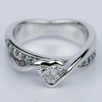 Customized Bezel Aquamarine Gemstone Bridge Heart Engagement Ring in White Gold (0.32 ct.) - small