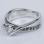Customized Bezel Aquamarine Gemstone Bridge Heart Engagement Ring in White Gold (0.32 ct.) - small angle 2
