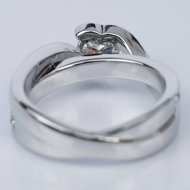 Customized Bezel Aquamarine Gemstone Bridge Heart Engagement Ring in White Gold (0.32 ct.) angle 4