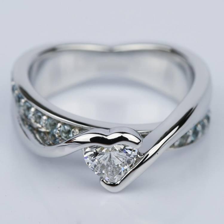Customized Bezel Aquamarine Gemstone Bridge Heart Engagement Ring in White Gold (0.32 ct.)