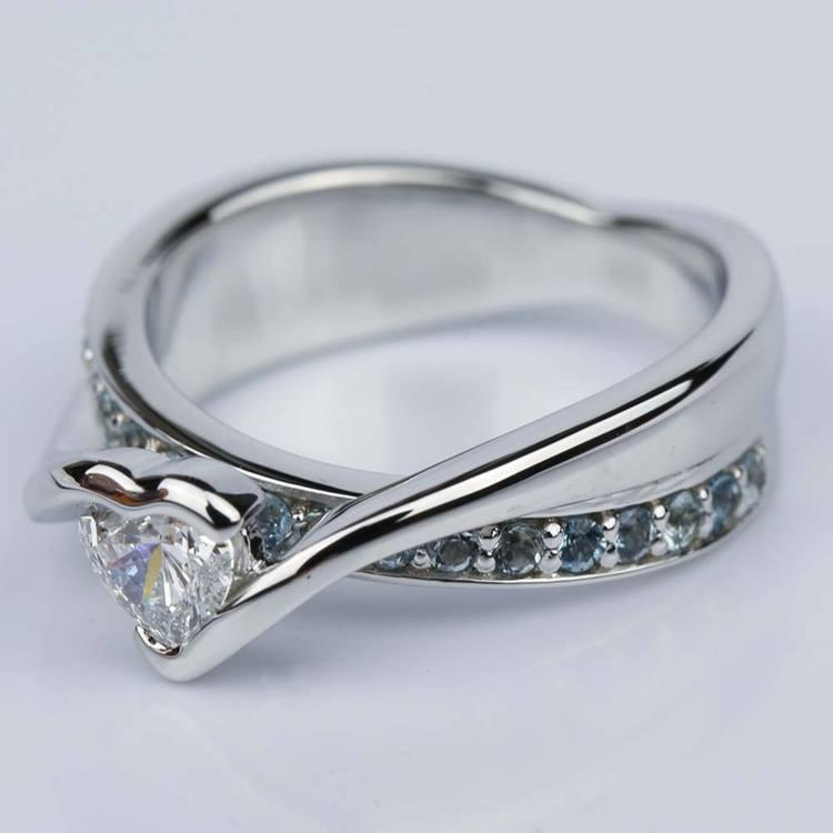 Customized Bezel Aquamarine Gemstone Bridge Heart Engagement Ring in White Gold (0.32 ct.) angle 2