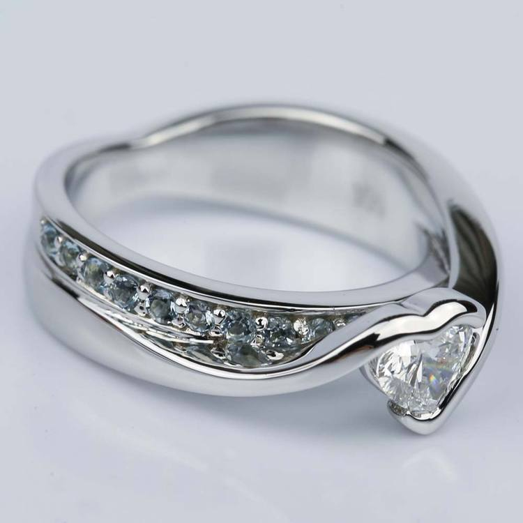 Customized Bezel Aquamarine Gemstone Bridge Heart Engagement Ring in White Gold (0.32 ct.) angle 3
