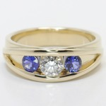 0.66 Carat Round Diamond & Sapphire Mangagement™ Ring - small