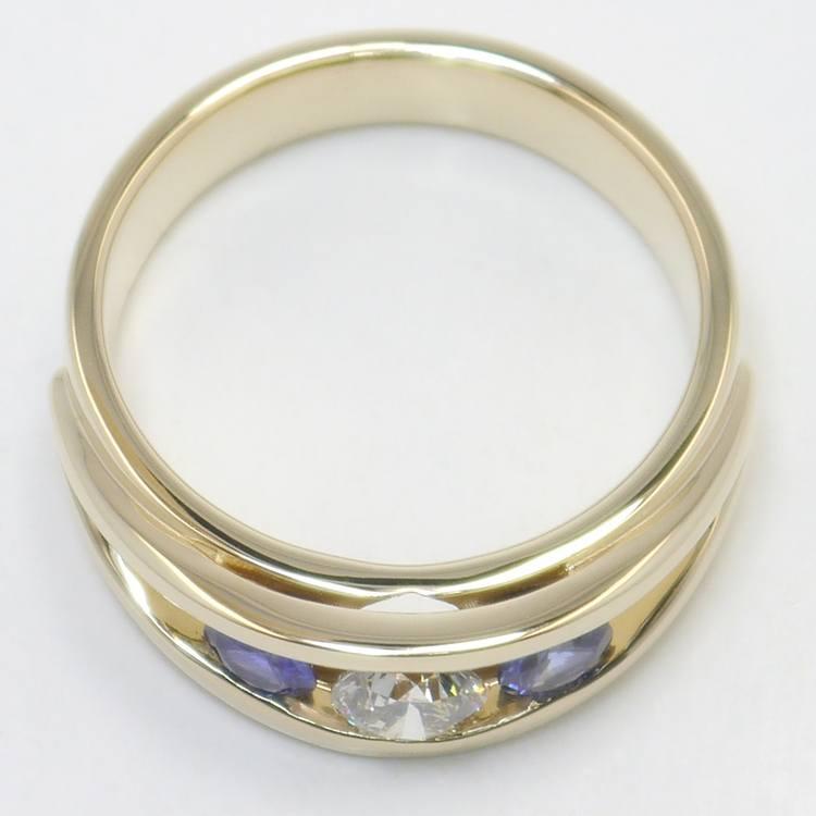 0.66 Carat Round Diamond & Sapphire Mangagement™ Ring angle 4