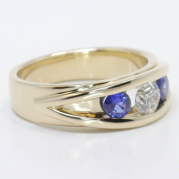 0.66 Carat Round Diamond & Sapphire Mangagement™ Ring angle 3