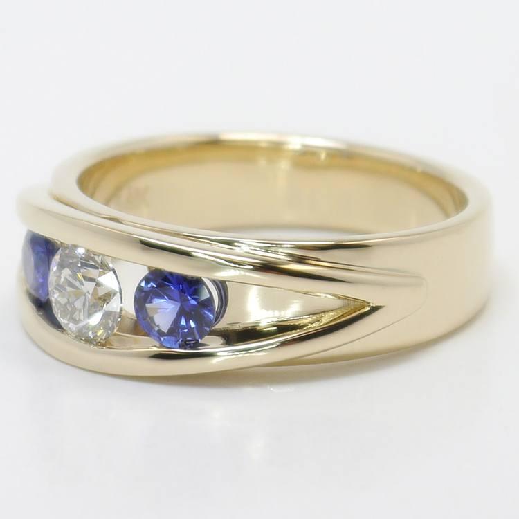 0.66 Carat Round Diamond & Sapphire Mangagement™ Ring angle 2