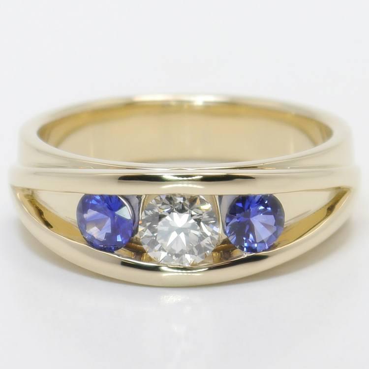 0.66 Carat Round Diamond & Sapphire Mangagement™ Ring