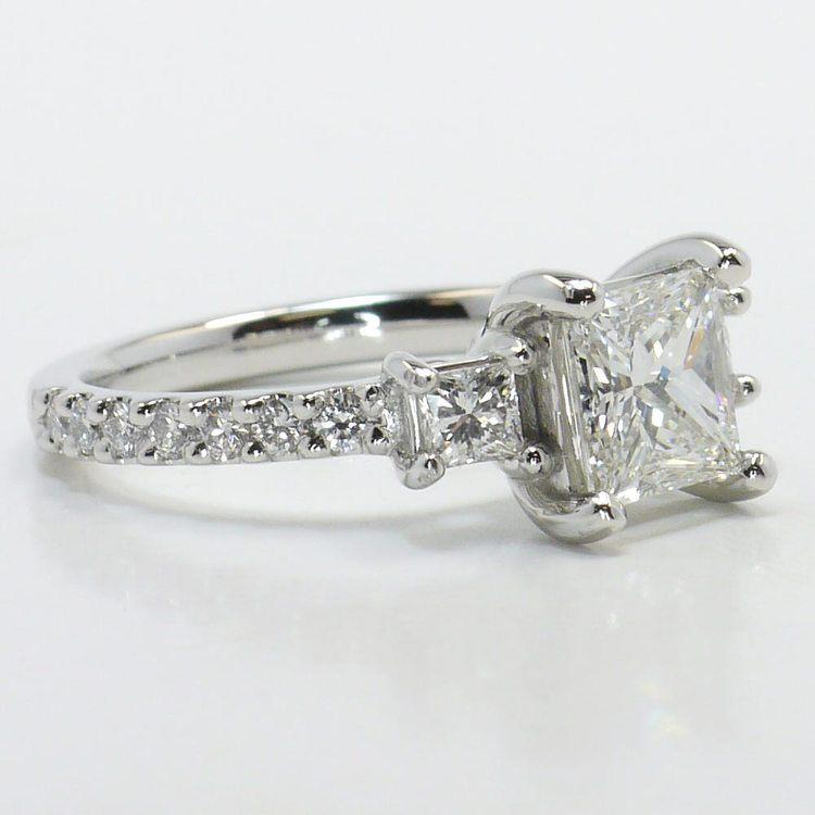 Customized Princess Three-Stone Diamond Scallop Engagement Ring angle 3