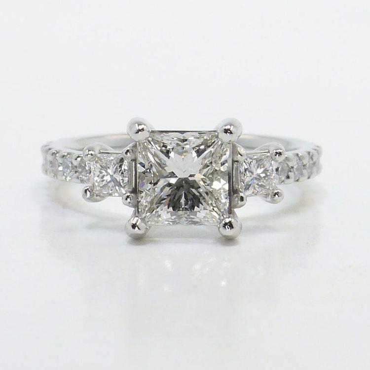 Customized Princess Three-Stone Diamond Scallop Engagement Ring