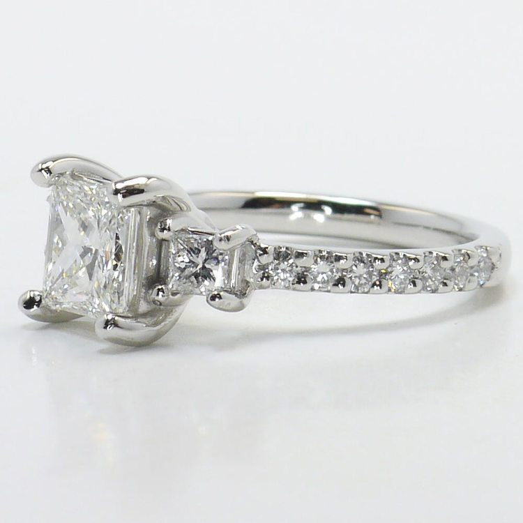 Customized Princess Three-Stone Diamond Scallop Engagement Ring angle 2