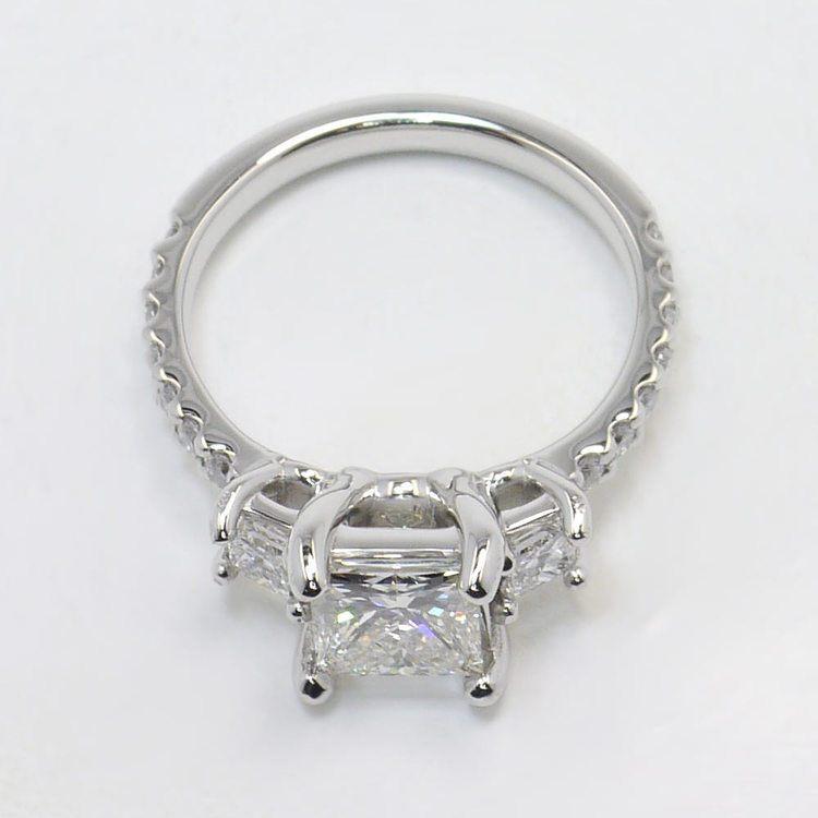 Customized Princess Three-Stone Diamond Scallop Engagement Ring angle 4