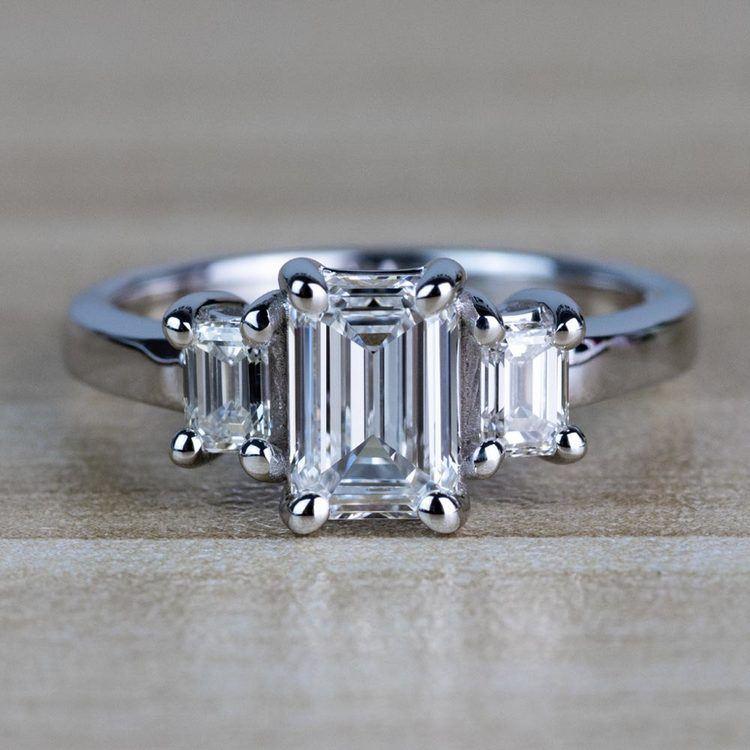 Customized Three Stone Emerald Diamond Engagement Ring
