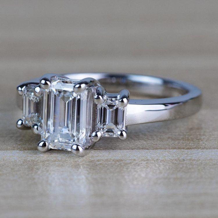 Customized Three Stone Emerald Diamond Engagement Ring angle 3