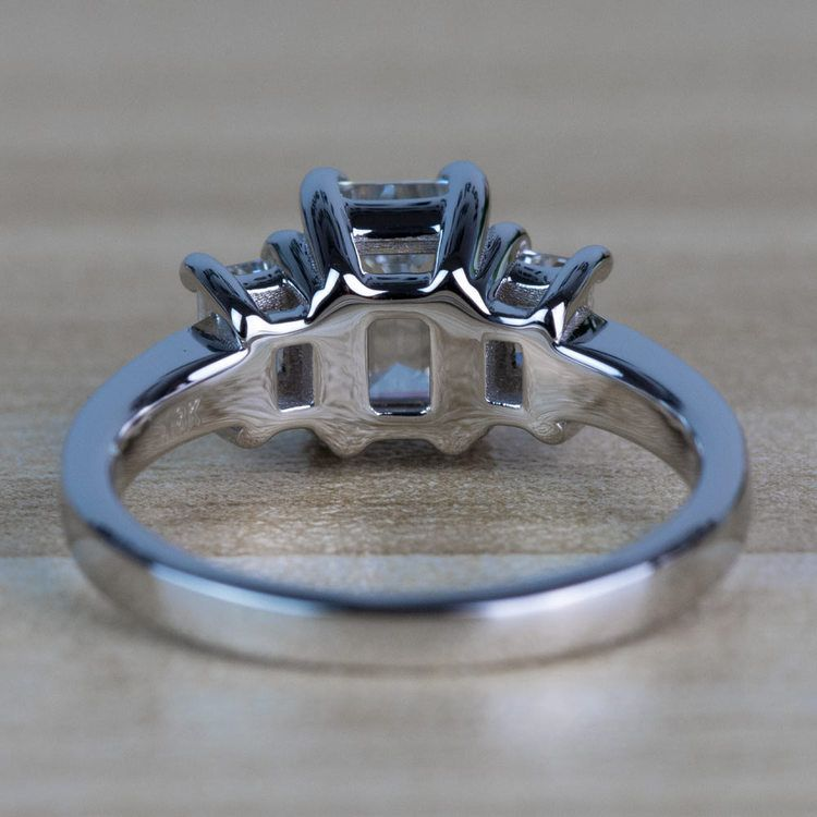 Customized Three Stone Emerald Diamond Engagement Ring angle 4