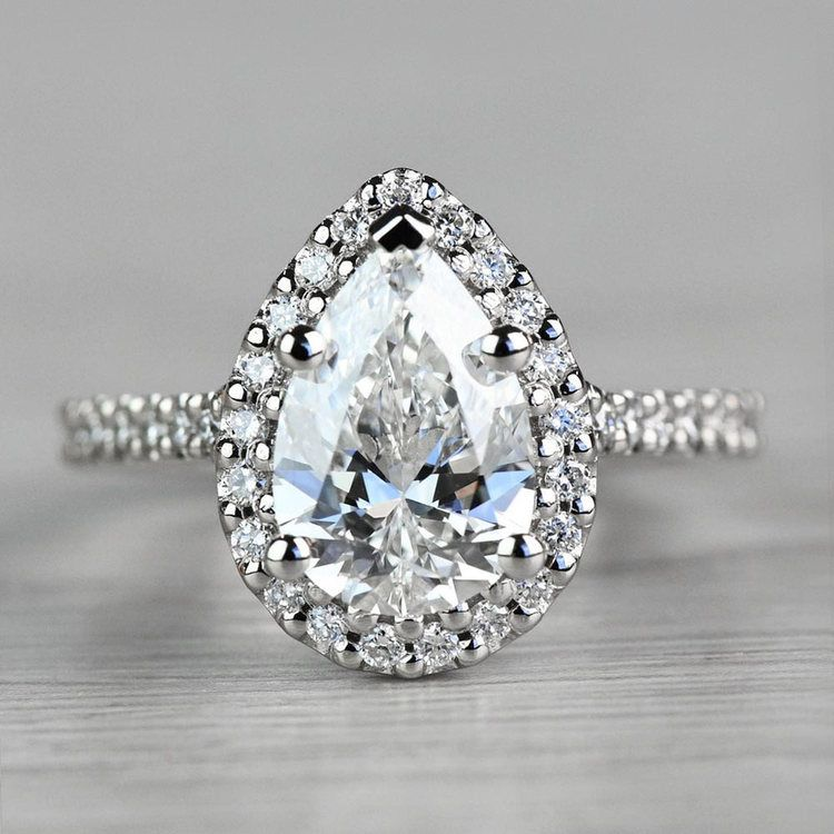 Dazzling Halo Engagement Pear Shaped Diamond Ring