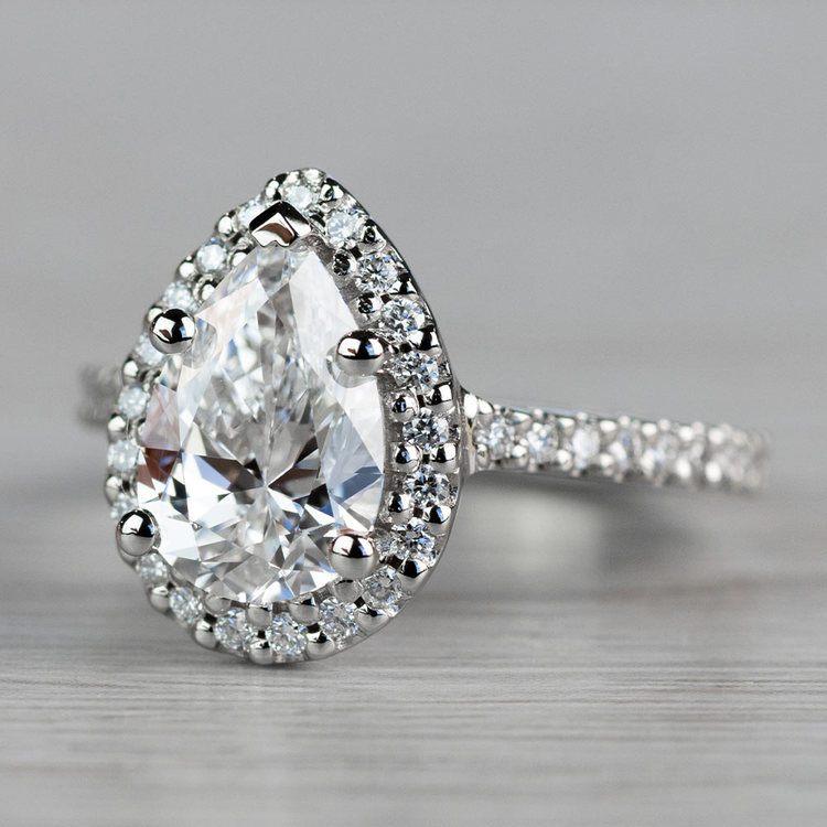 Dazzling Halo Engagement Pear Shaped Diamond Ring angle 2