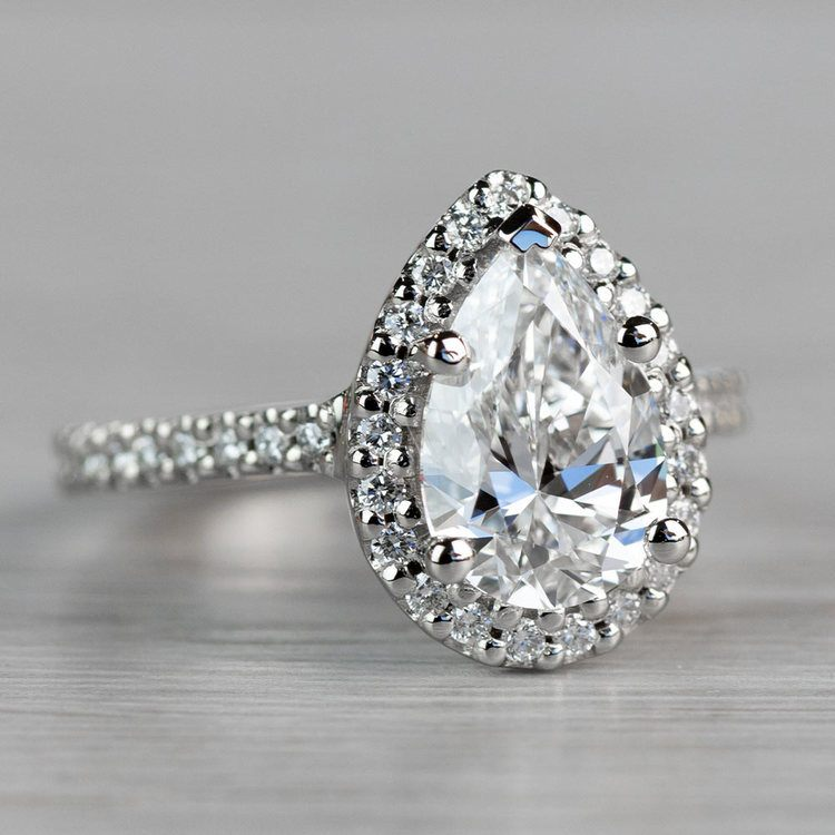 Dazzling Halo Engagement Pear Shaped Diamond Ring angle 3