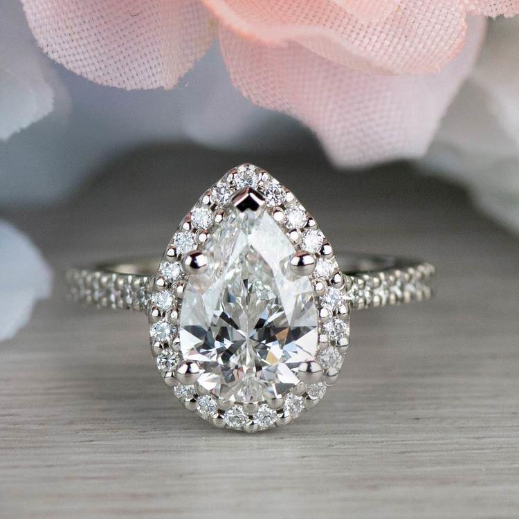 Dazzling Halo Engagement Pear Shaped Diamond Ring angle 5