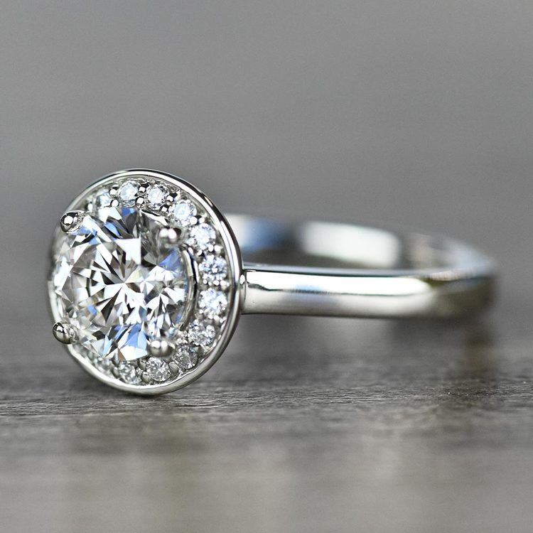 Dazzling Round Halo Engagement Ring In White Gold angle 2