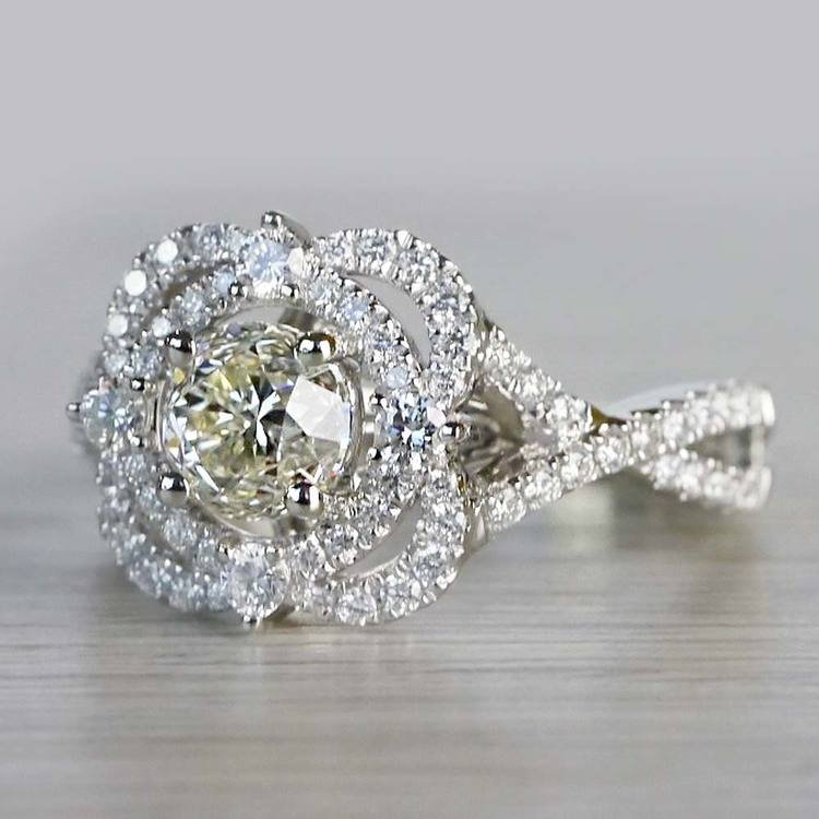 Delicate Double Halo 1 Carat Diamond Ring by Parade angle 2
