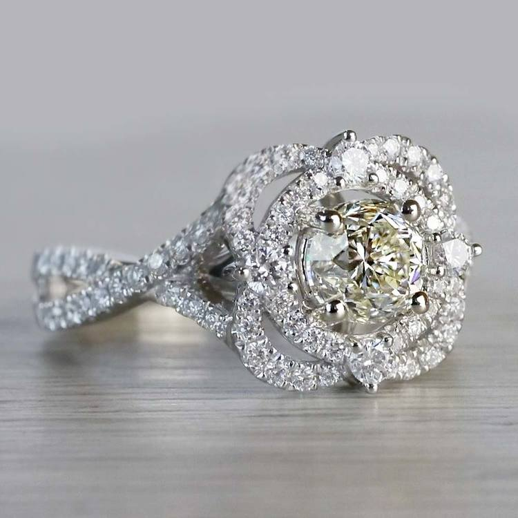 Delicate Double Halo 1 Carat Diamond Ring by Parade angle 3