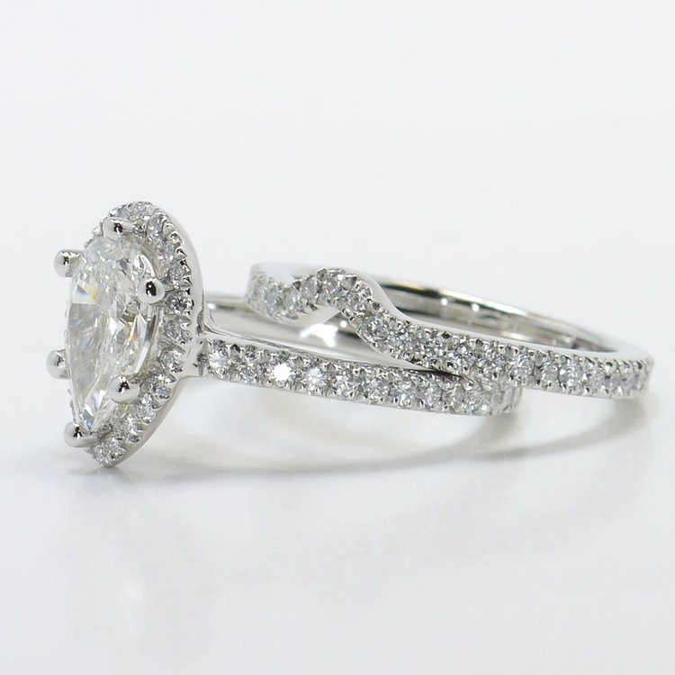 Delicate Pave Halo Diamond Ring with Contoured Matching Band angle 2