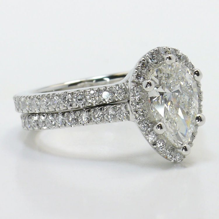 Delicate Pave Halo Diamond Ring with Contoured Matching Band angle 3