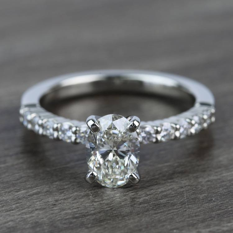 Delicate Shared-Prong 0.72 Carat Oval Diamond Engagement Ring