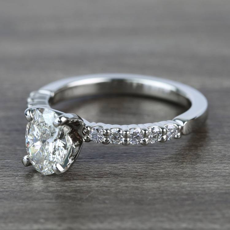 Delicate Shared-Prong 0.72 Carat Oval Diamond Engagement Ring angle 2