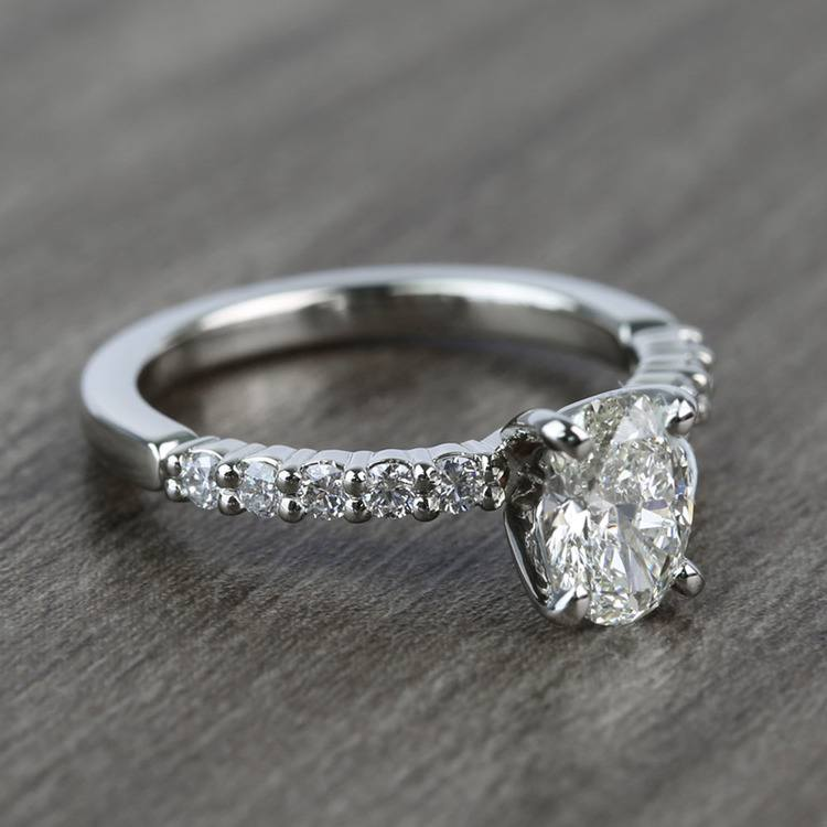 Delicate Shared-Prong 0.72 Carat Oval Diamond Engagement Ring angle 3