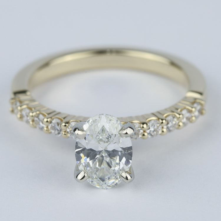 Delicate Shared-Prong 0.90 Carat Oval Diamond Engagement Ring