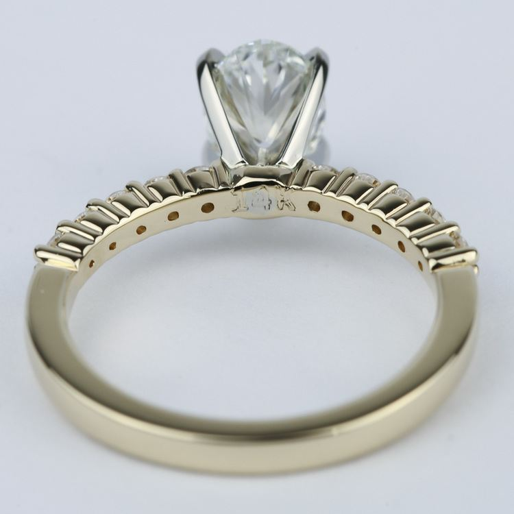 Delicate Shared-Prong 0.90 Carat Oval Diamond Engagement Ring angle 4