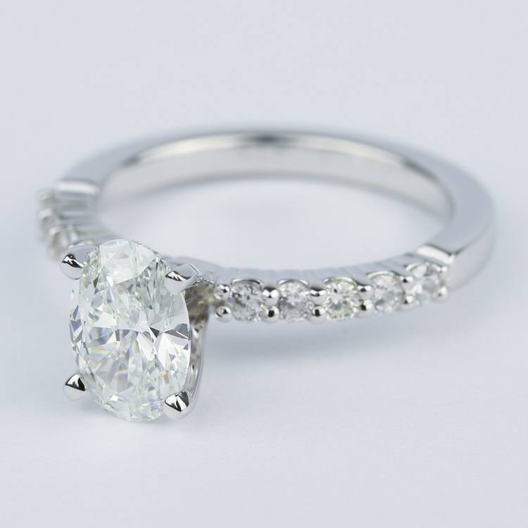 Delicate Shared-Prong 1.07 Carat Oval Diamond Engagement Ring angle 2