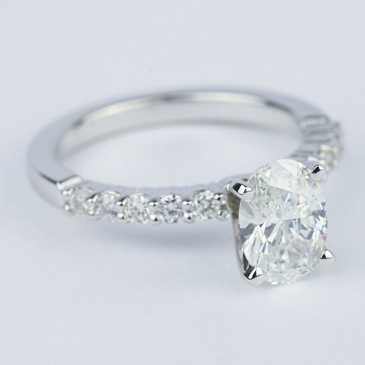 Delicate Shared-Prong 1.07 Carat Oval Diamond Engagement Ring angle 3