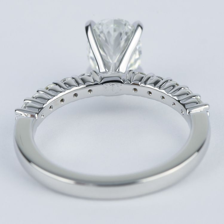 Delicate Shared-Prong 1.07 Carat Oval Diamond Engagement Ring angle 4