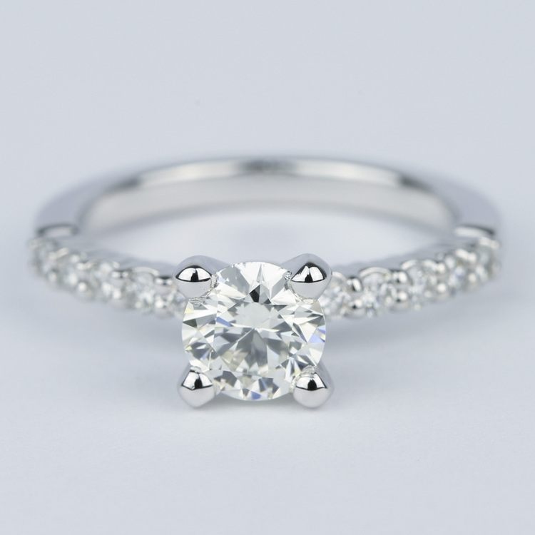 Shared-Prong Pave Diamond Engagement Ring (.70 Carat)