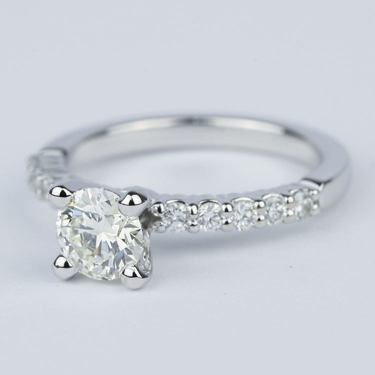 Shared-Prong Pave Diamond Engagement Ring (.70 Carat) angle 2