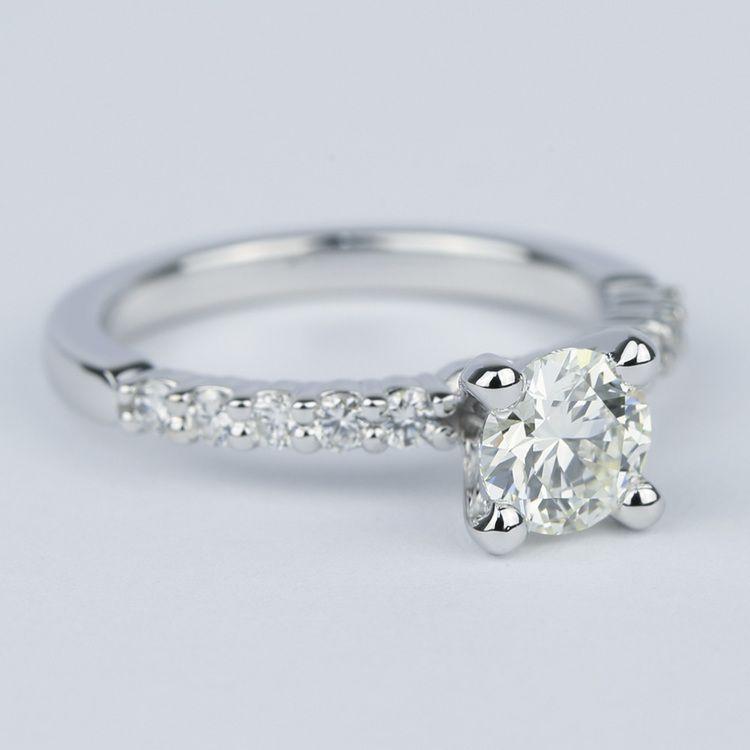 Shared-Prong Pave Diamond Engagement Ring (.70 Carat) angle 3