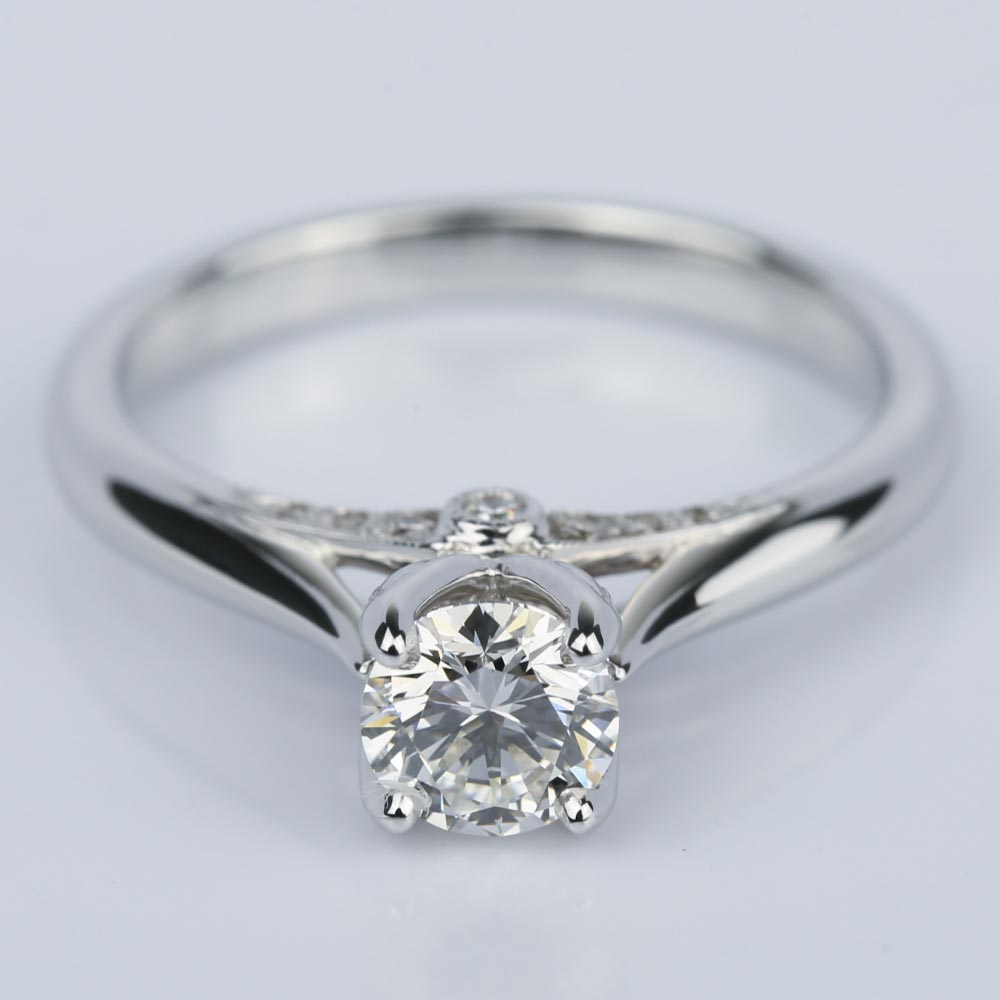 Designer Diamond Engagement Ring In White Gold 0 47 Ct