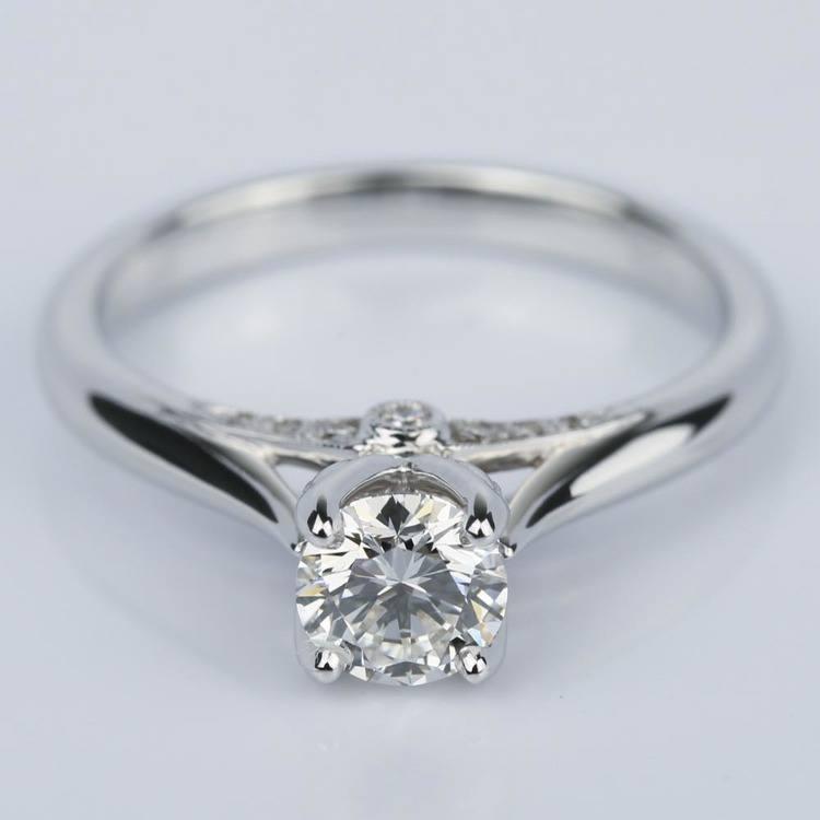Designer Diamond Engagement Ring in White Gold (0.47 ct.)