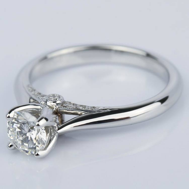 Designer Diamond Engagement Ring in White Gold (0.47 ct.) angle 2