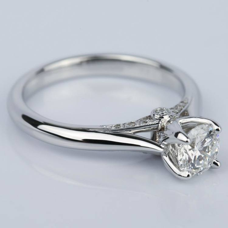 Designer Diamond Engagement Ring in White Gold (0.47 ct.) angle 3