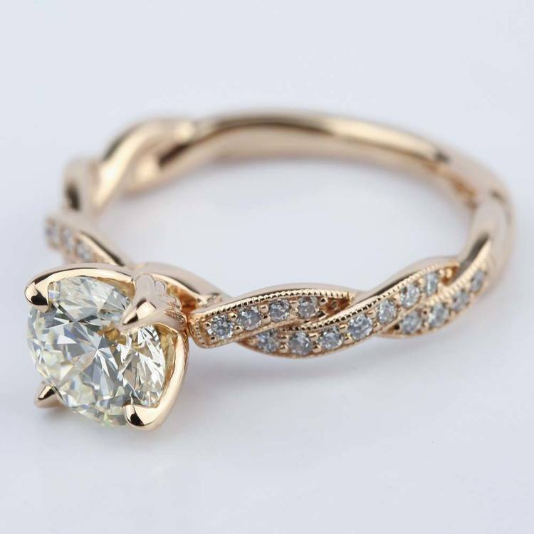 Designer Engagement Ring in Rose Gold by Parade (1.28 ct.) angle 2