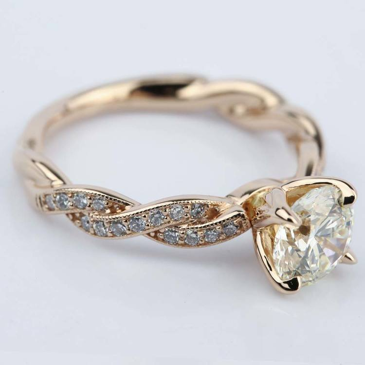 Designer Engagement Ring in Rose Gold by Parade (1.28 ct.) angle 3